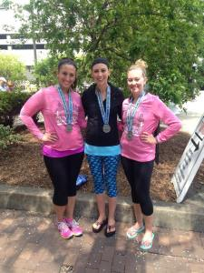 My client, Jessica Schrock (middle) with 2 of her friends after finishing a half marathon!